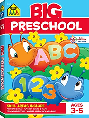 School Zone – Big Preschool Workbook – Ages 3 to 5, Colors, Shapes, Numbers 1-10, Early Math, Alphabet, Pre-Writing, Phonics, Following Directions, and More (School Zone Big Workbook Series)